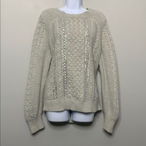 J Crew Gray Silver Sequin Cable Knit Blend D3 0339